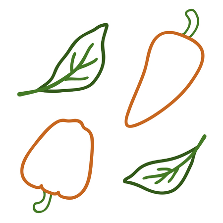 Outline pepper set - vector illustration