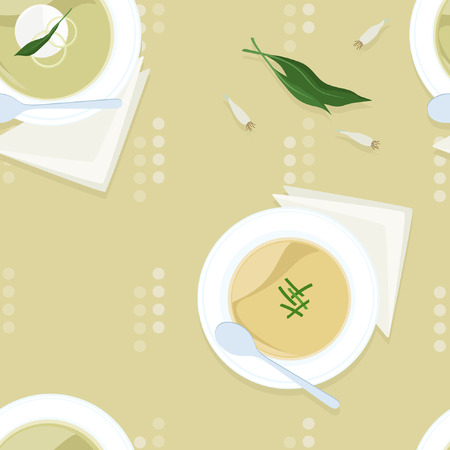 Served onion soup - vector illustration