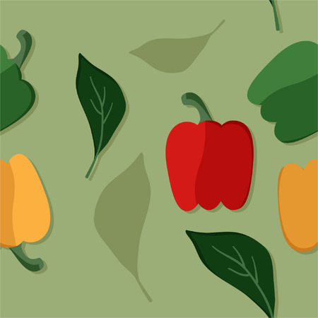 Green, yellow and red pepper - vector illustration