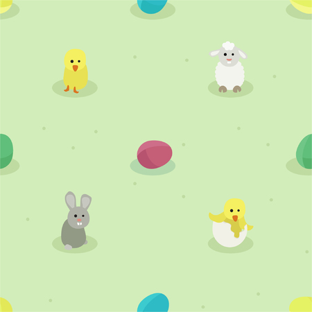 Bunny, small chicken, sheep and Easter eggs -  vector background