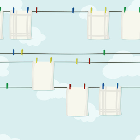 Kitchen towels hanging on a clothesline - vector illustration