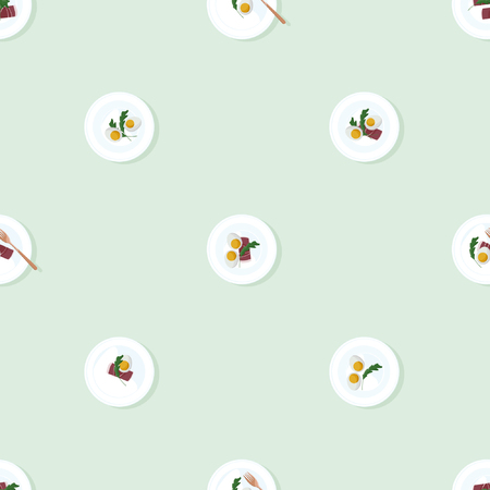 Served eggs, prosciutto and arugula - vector background