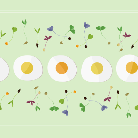 Sprouts and fried eggs - vector illustration Иллюстрация