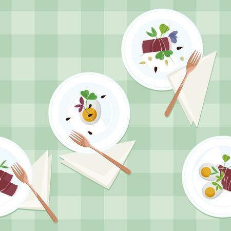 Serviert Eier, Prosciutto und Sprossensalat - Vektorillustration