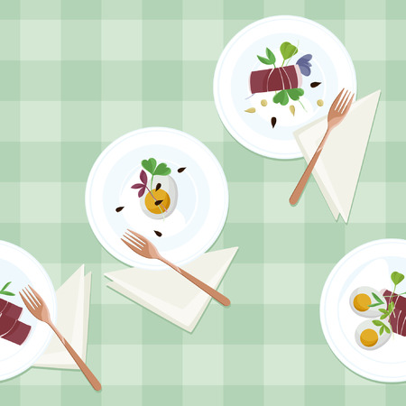 Served eggs, prosciutto and sprout salad - vector illustration