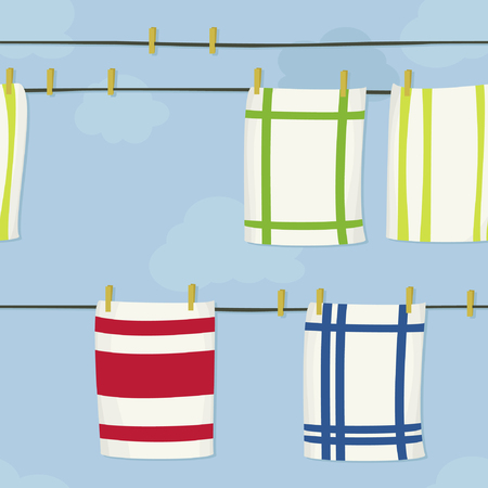 Hanging dishcloths on a clothesline - vector illustration 向量圖像