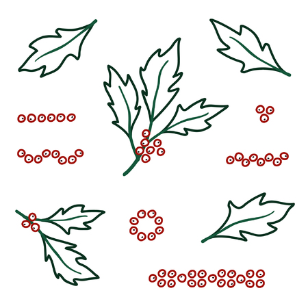 Outline holly tree set - vector illustration Illustration