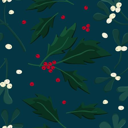 Mistletoe and holly tree - vector illustration