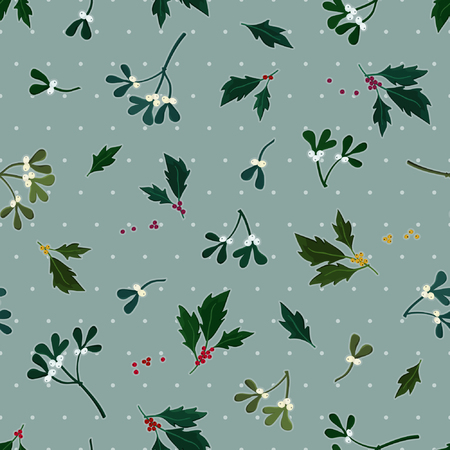Holly tree and mistletoe twigs - Christmas theme background