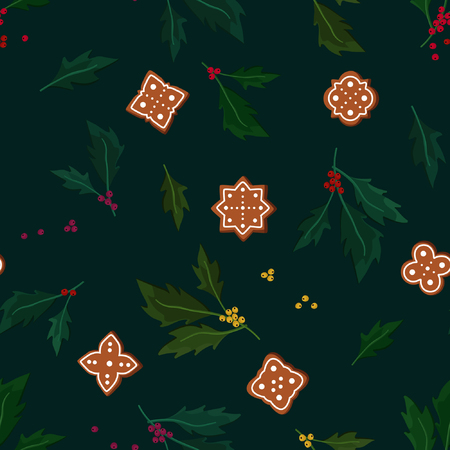 Holly tree and gingerbread - vector background