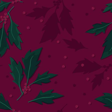 Holly tree twigs - vector back 일러스트