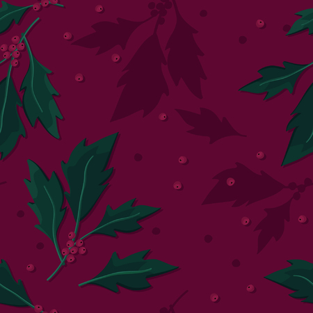 Holly tree twigs - vector back Illustration
