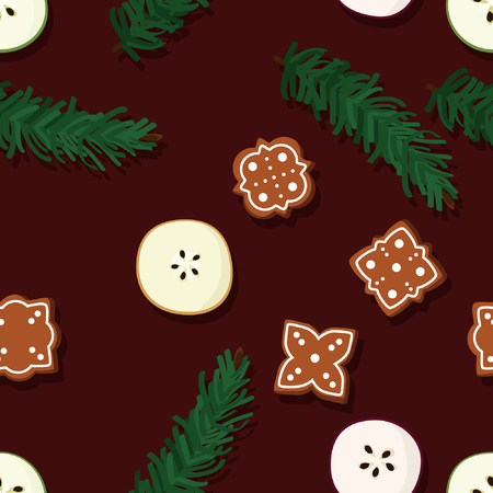 Apple, gingerbread and fir branches - vector background Illustration