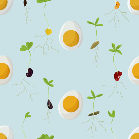 Hard boiled eggs and growing seeds - vector background