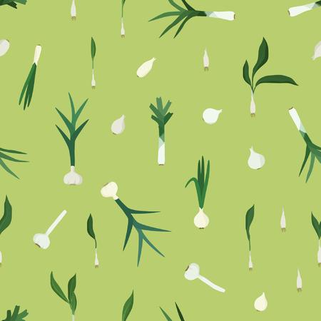 Garlic, leek and onion - vector background