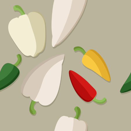 Sweet and hot peppers - vector illustration