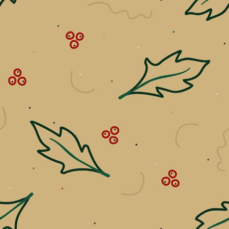 Outline holly tree - Christmas theme background