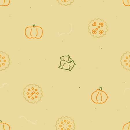Outline pumpkin and pumpkin pie - vector background
