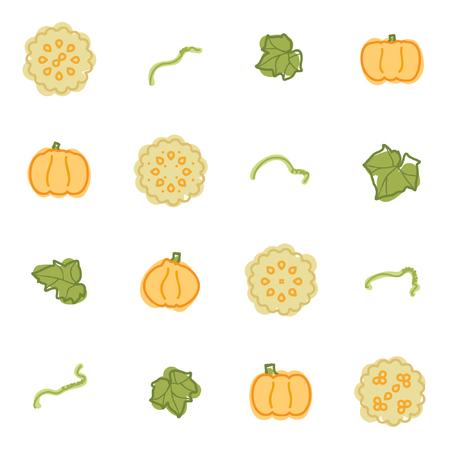 Watercolored pumpkin and pumpkin pie set - vector illustration Ilustrace