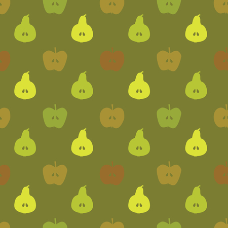 Apple and pear silhouettes - vector background Çizim