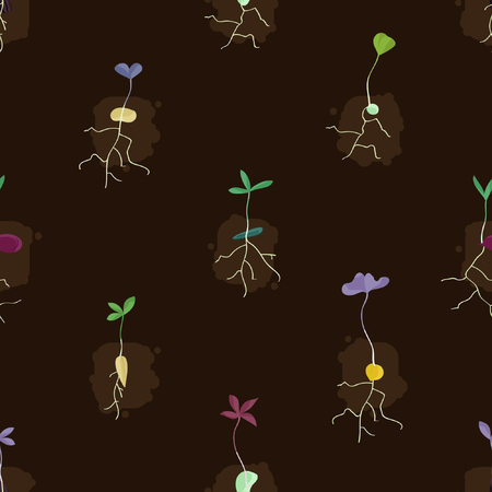 Different growing seeds - vector background