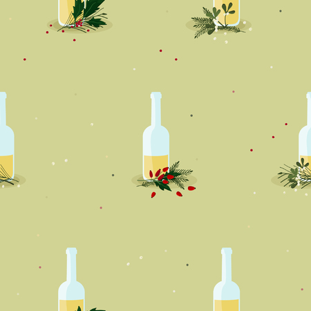 Bottles with eggnog and Christmas decoration - vector background Иллюстрация