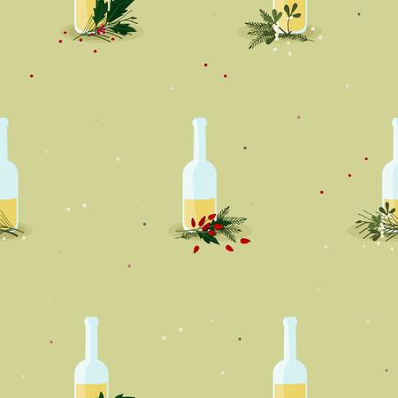 Butelki z ajerkoniakiem i świąteczną dekoracją - tło wektor Ilustracje wektorowe