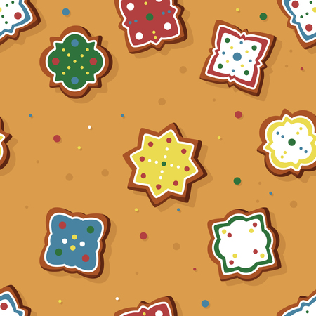 Gingerbread with colorful sugar icing - vector background