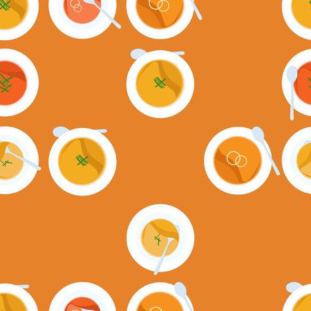 Served pumpkin soup - vector background Ilustração