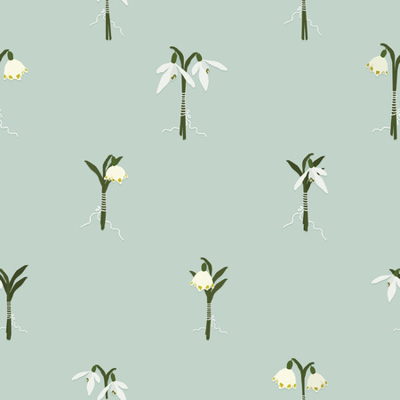 Snowdrop and snowflake bouquets - vector background