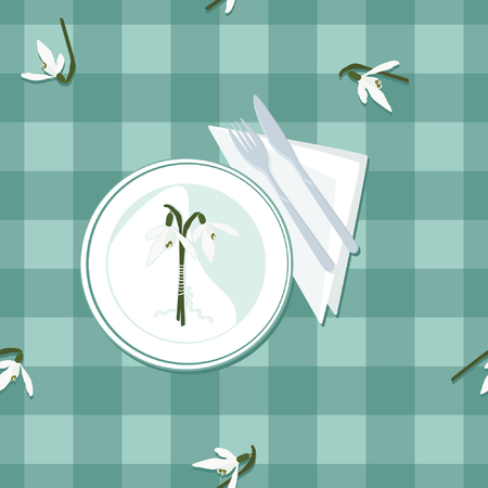 Plate, cutlery and snowdrops - vector illustration