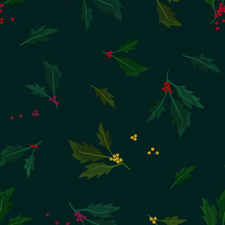 Holly tree twigs - vector background