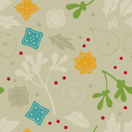 Holly tree, gingerbread and fruit silhouettes - vector background