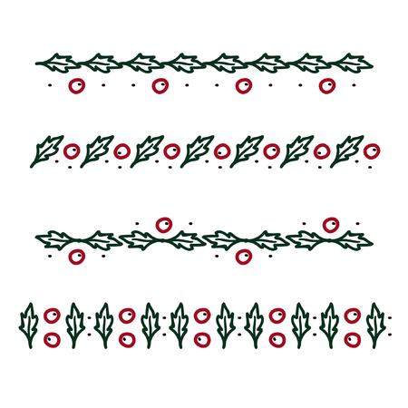 Outline holly tree ornaments - vector illustration Vector Illustration