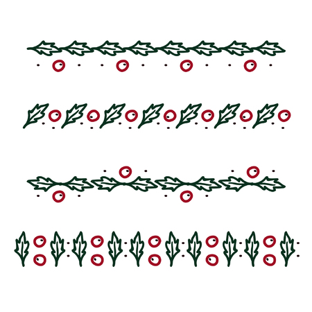 Outline holly tree ornaments - vector illustration