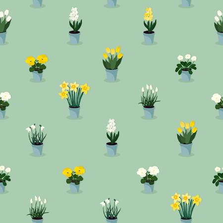 Spring flowers in flowerpots -  vector illustration