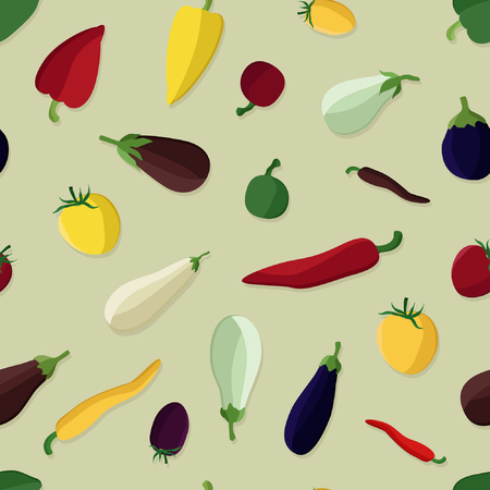 Eggplant, tomato and pepper - vector background