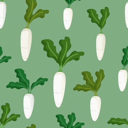 White radish on light green background - vector background