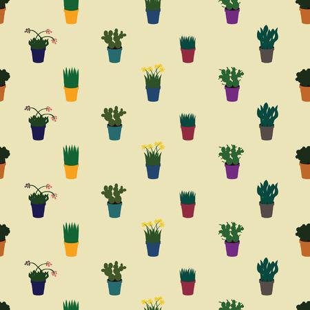 Different indoor plants - vector background
