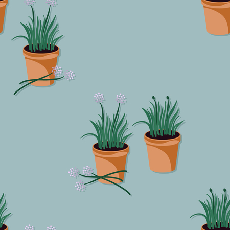 Chives growing in a flowerpot - vector illustration Imagens - 120203083