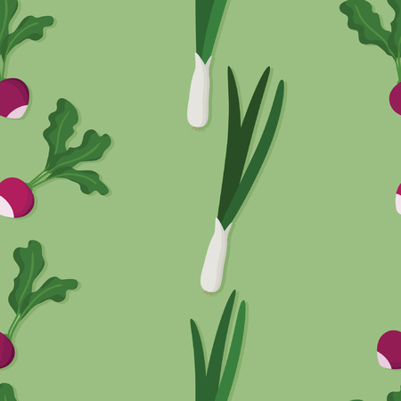 Radish and spring onions - vector background