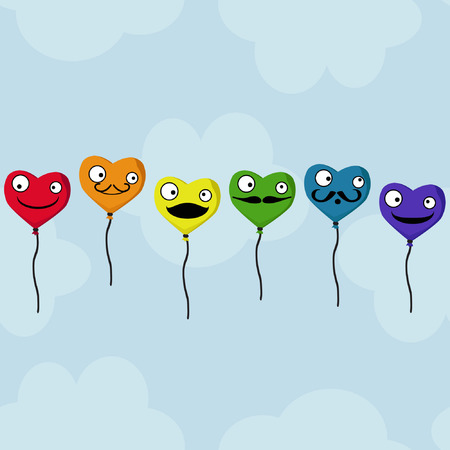 Heart balloons on a cloudy background - vector illustration