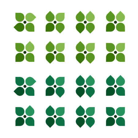 Four leaf blossoms set - vector illustration