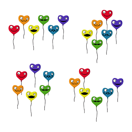 Set of colorful heart balloons - vector illustration