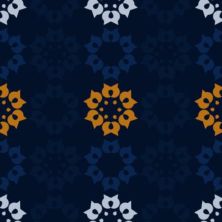 Dark blue background with folk blossoms pattern - vector background Illustration