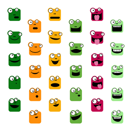 Set of frog emoticons - vector illustration