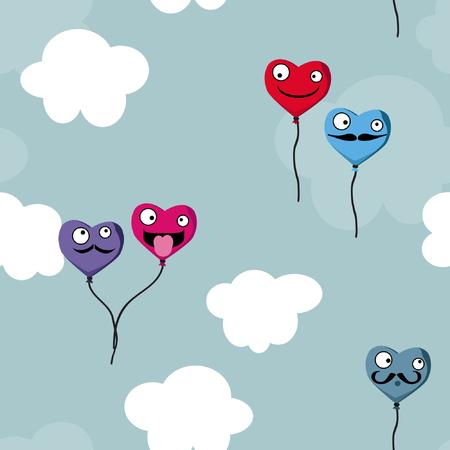 Globos de corazón sobre un fondo nublado - ilustración vectorial Ilustración de vector