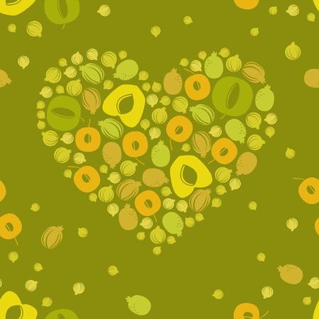 Fruit silhouettes heart - vector illustration