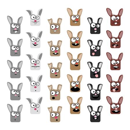 Various rabbit emoticons - vector illustration