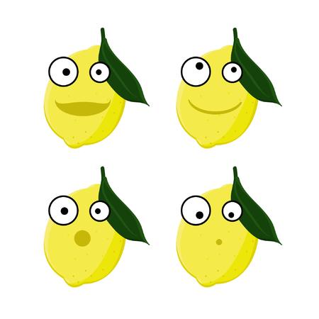 Four lemon emoticons - vector illustration
